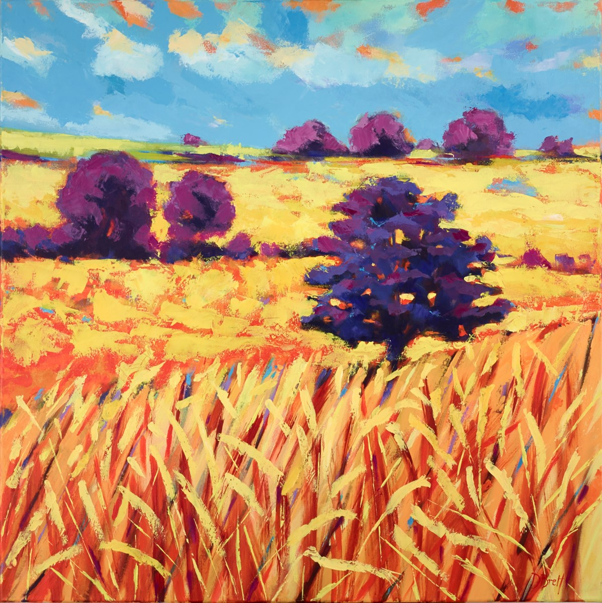 Summer Fields, Oak by david brett -  sized 39x39 inches. Available from Whitewall Galleries